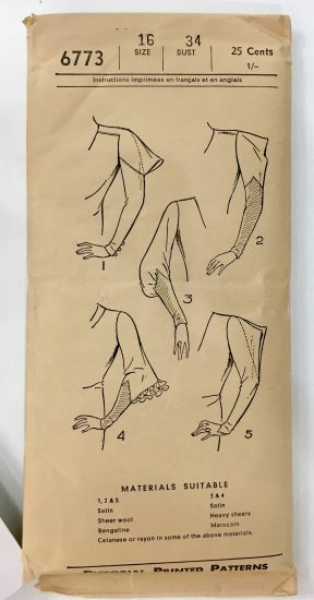 Picture of front of Pattern envelope: Pictorial Printed Pattern 1930s at the Tchad Chicago sewing studio workroom library in Chicago