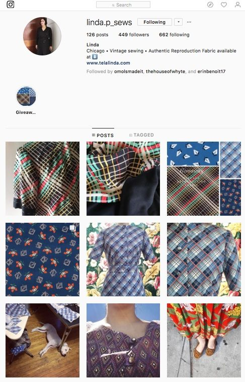 Linda prieto Instagram page where she develops reproduction clothes and fabric that remain true to the original garments and fabrics...