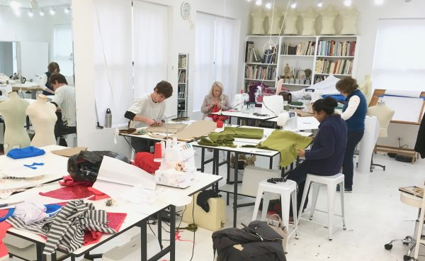 Sewing classes in Chicago in session at Tchad's Chicago workroom atelier.