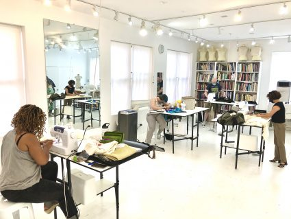 This is the social distance setup at our Chicago Workrooms. Social Distance | Sewing Classes In Chicago | Tchad | Workroom | Sewing Studio | Chicago Sewing Studio